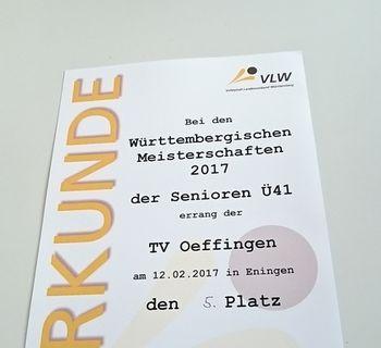 Württembergische Meisterschaft 2016/17 Senioren Ü41